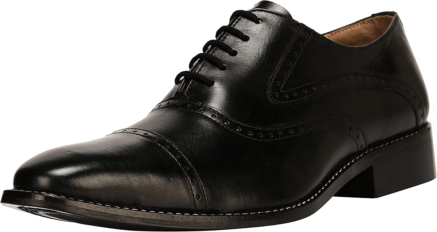 Liberty Men's Handmade Leather Classic Oxford Lace Up Perforated Cap-Toe Dress shoes
