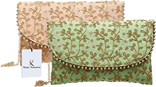 Kuber Industries Women's Handcrafted 2 Pieces Embroidered Clutch Bag Purse Handbag for Bridal, Casual, Party, Wedding (Gre...