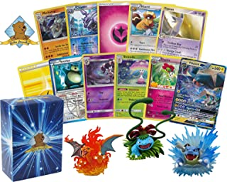 Golden Groundhog 100 Pokemon Card Lot Featuring 1 GX and 1 Original Pokemon Figure (Charizard, Blastoise, Venusaur and Others)! Foils Rares Holos Energy! Includes Deck Box!