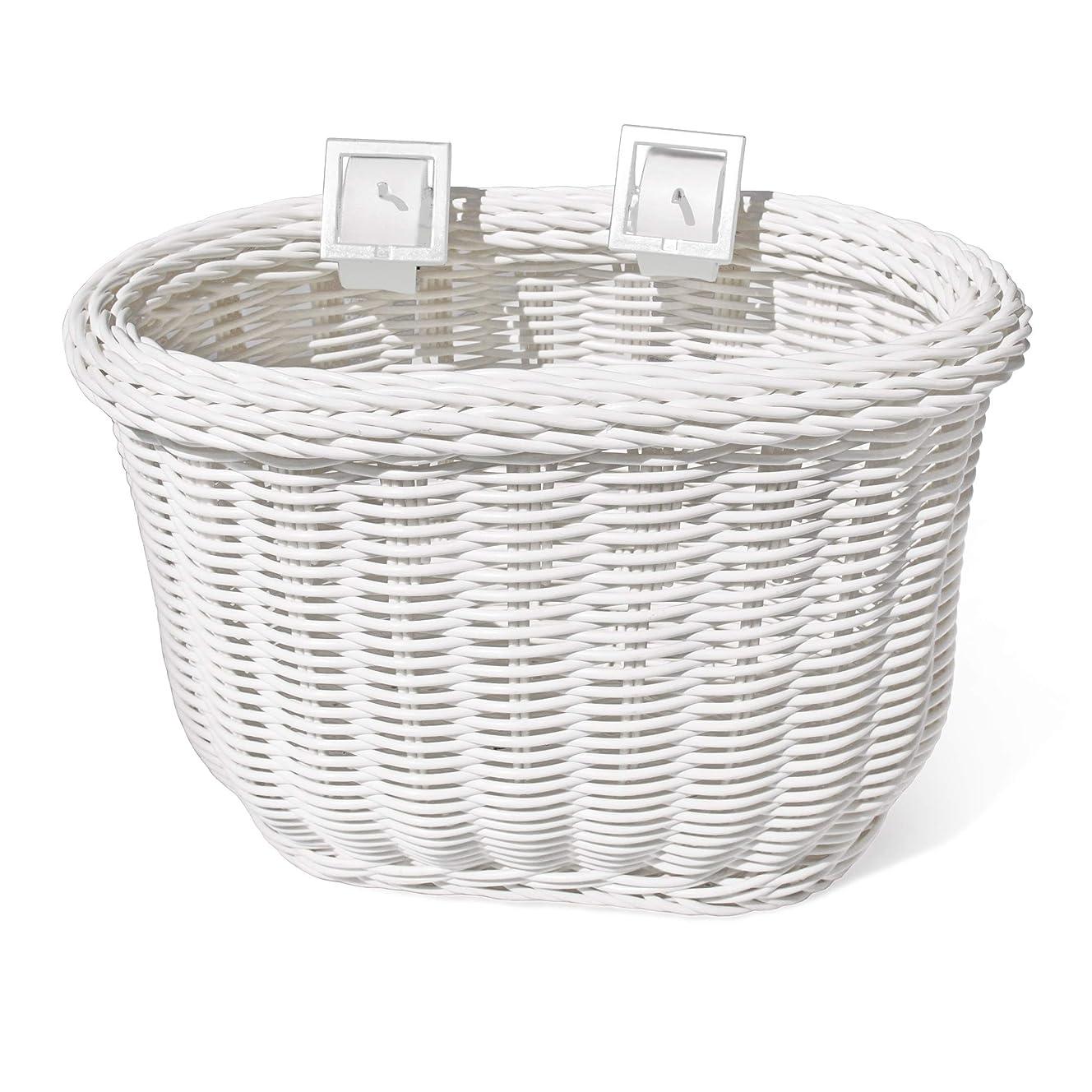 Colorbasket 01242 Kid's Front Handlebar Bike Basket, All Weather, Water Resistant, Adjustable Leather Straps, Food-Contact Safe, White