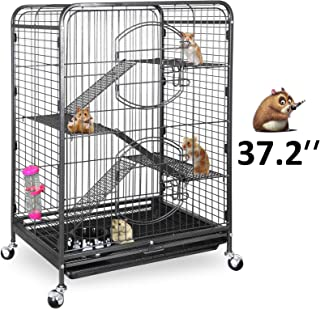 SUPER DEAL 37.2'' Ferret Cage Chinchilla Guinea Pig Small Animal Cage - 4 Tiers - 3 Ladders - 2 Front Doors - Food Bowl - Water Bottle - Slide Out Trays - Swivel Casters