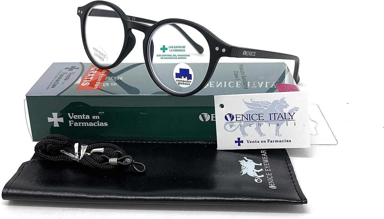 VENICE EYEWEAR OCCHIALI | New Model Gafas con filtro bloqueo de luz azul para gaming, ordenador, móvil. Anti fatiga Lennon Professional Executive UNISEX venice (Negro, Sin graduación +0.00)