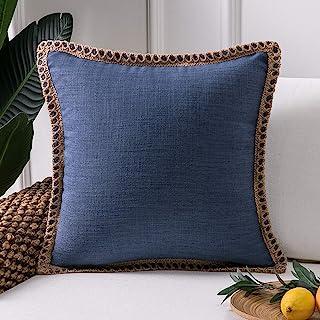 PHANTOSCOPE Decorative Navy Blue Farmhouse Serious Linen Trimmed Throw Pillow Case Cushion Cover 18 x 18 inch 45 x 45 cm