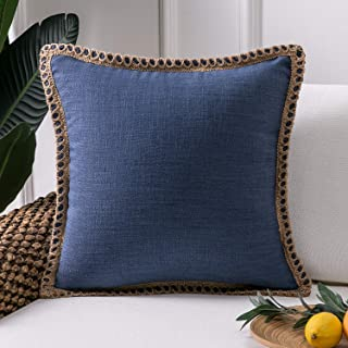 Phantoscope Farmhouse Decorative Throw Pillow Covers Burlap Linen Trimmed Tailored Edges Outdoor Pillows Navy Blue 18 x 18 inches, 45 x 45 cm