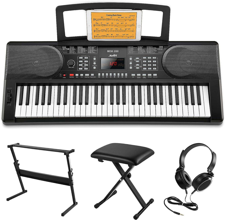 Moukey Kit de Teclado Piano Electrico 61 Teclas, Teclado de Piano Digital ElectróNico para Principiantes con Soporte de Teclado de ...