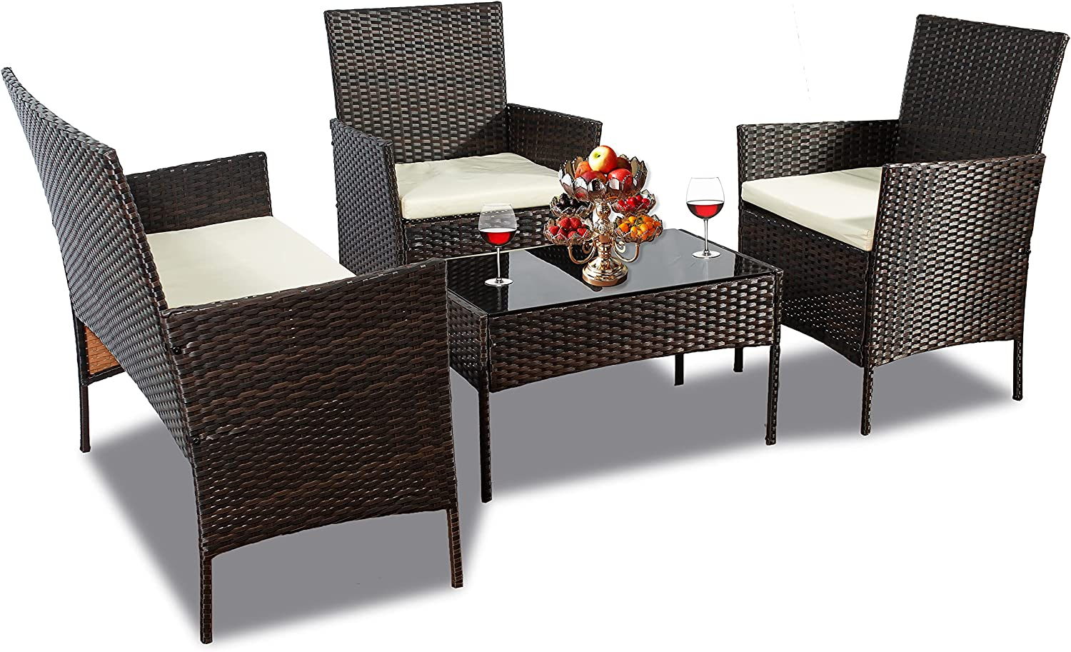 4 PC Wicker Patio New arrival Outdoor Furniture PE Ratta 3 Outlet ☆ Free Shipping Set Pieces