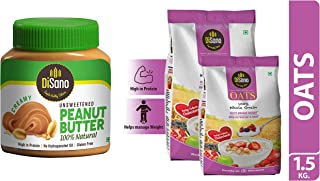 DiSano All Natural Peanut Butter, Creamy, 30% Protein, Unsweetened, Gluten Free, 1 Kg & Oats with High in Protein and Fibr...