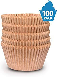 Cupcake Baking Cup Liner – Jumbo Size, Extra Thick, Unbleached Brown Disposable Cup Parchment Liner for Baking– Food Grade & No Smell – Muffin Paper Baking Cups by NextClimb (Pack of 100)