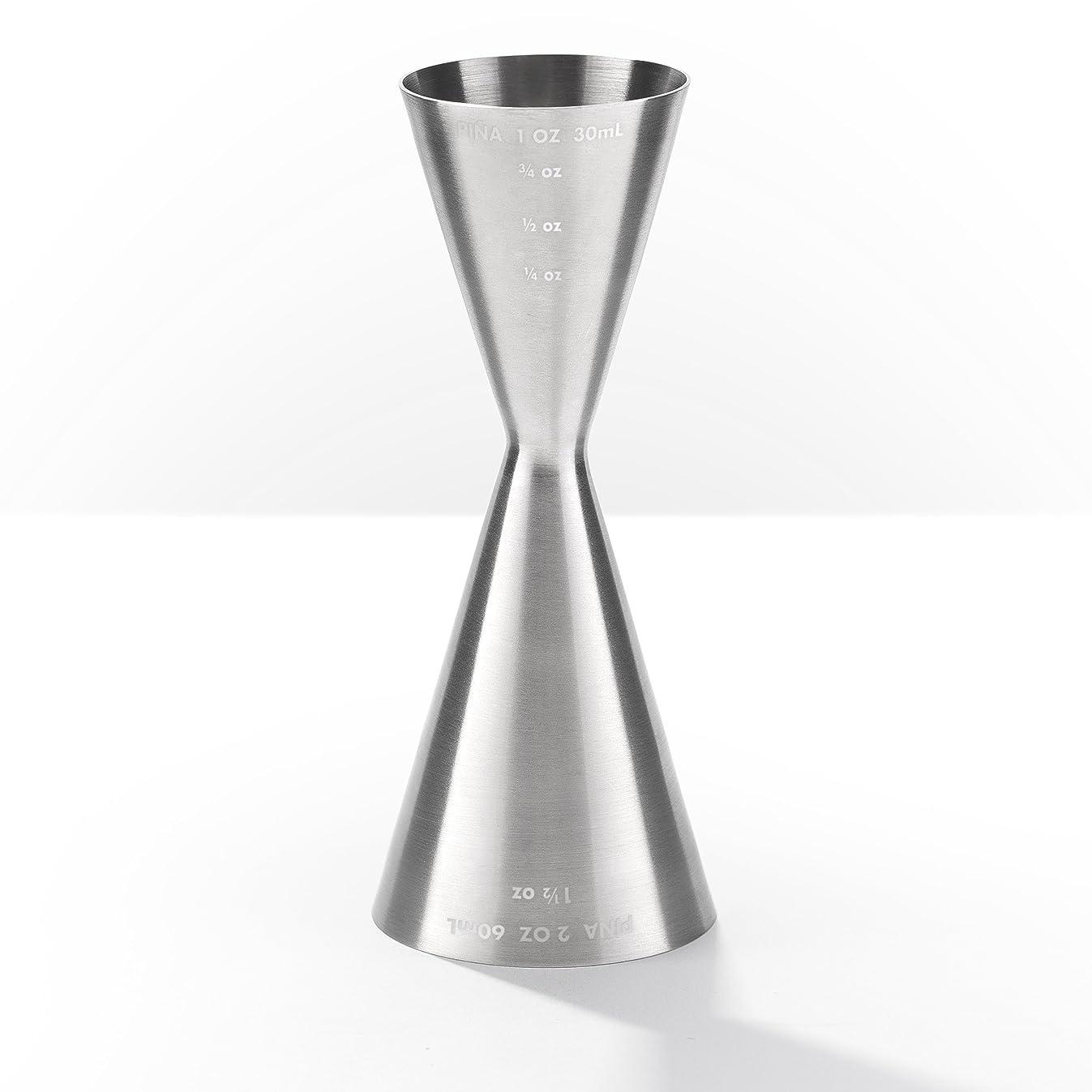 Pi?a Barware Slim Stainless Steel Commercial 2oz. / 1oz. Slim Style Measuring Jigger Bar Tool