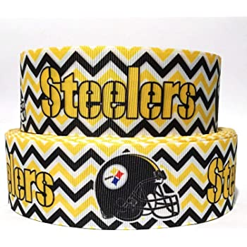 5 Yards of Pittsburgh Steelers Grosgrain Ribbon-7//8 inch