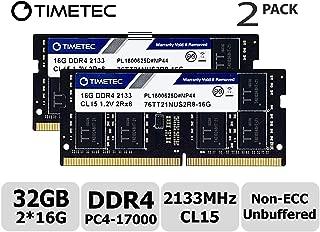Timetec Hynix IC 32GB KIT(2x16GB) DDR4 2133MHz PC4-17000 Unbuffered Non-ECC 1.2V CL15 2Rx8 Dual Rank 204 Pin SODIMM Laptop Notebook Computer Memory RAM Module Upgrade (32GB KIT(2x16GB))
