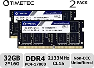 Timetec Hynix IC 32GB KIT(2x16GB) DDR4 2133MHz PC4-17000 Unbuffered Non-ECC 1.2V CL15 2Rx8 Dual Rank 204 Pin SODIMM Laptop Notebook Computer Memory RAM Module Upgrade (32GB KIT(2x16GB))