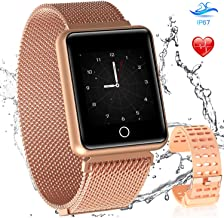 AGPTEK Bluetooth Smartwatch for Women, Bluetooth Fitness Tracker Sport Waterproof Activity Tracker with Heart Rate Monitor Pedometer Sleep Monitor for Android iOS, Champagne Gold