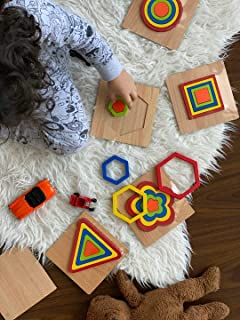 6 PIECES of 3d shapes wood geometric puzzle ,jigsaw, play dough tool educational Montessori toys learning color for baby t...