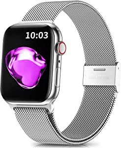 Easuny Compatible with Apple Watch Band 41mm 40mm 38mm Women Men - Adjustable Metal Stainless Steel Mesh Loop Replacement Wristband Strap for iWatch Bands SE & Series 7 6 5 4 3 2 1, Silver