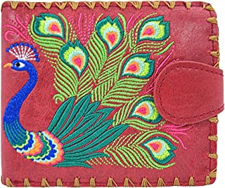 Sacred Peacock Embroidered Medium Wallet