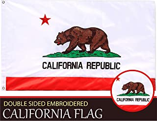 G128 – California State Flag | 2x3 feet | Double Sided Embroidered 210D – Indoor/Outdoor, Brass Grommets, Heavy Duty Polyester, 3-ply