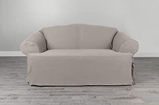 Serta | Relaxed Cotton Duck Slipcover Collection Fits Most T Loveseats with Cushions Measuring, Up to 65