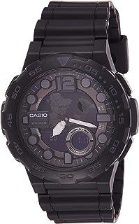 Casio Watch For Men Quartz , Analog-Digital Display and Resin Strap Aeq-100W-1Av, Black Band