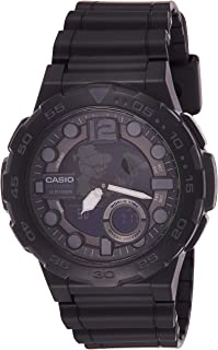Casio Men's Quartz Watch, Analog-Digital Display and Resin Strap Aeq-100W-1Av, Black Band