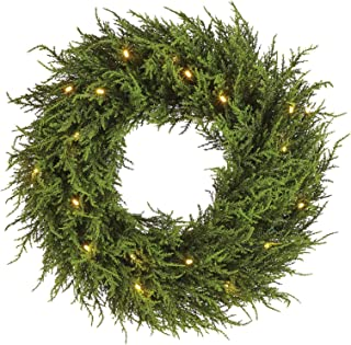 NOMA Pre-Lit Fall Wreath for Front Door | Cedar Christmas Wreath with Lights | 20 Warm White Battery-Operated LED Bulbs | 24 Inches