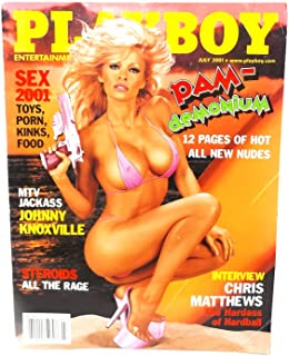 Playboy July 2001 Pamela Anderson on Cover (12-page nude pictorial inside), Chris Matthews Interview, Johnny Knoxville 20 Questions, Brian Aldiss Fiction, Best Surfing, Golden Age of Baseball