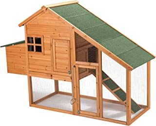 CO-Z Deluxe 2-Tier Chicken Coop and Outdoor Run Wooden Pet Cat House Bunny Rabbit Hutch with Waste Drawer for Easy Clean in Nature Color w/Ladder for Small Animals