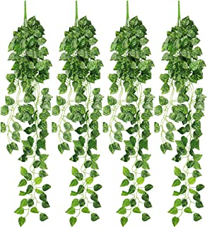 RERXN 4 Bunches Artificial Ivy Vine Greenery Fake Hanging Plant Leaves for Indoor Outdoor Decor (Epipremnum aureum Leaves)