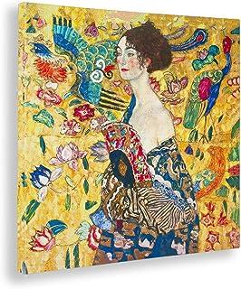Giallobus - Cuadro - Gustav Klimt - Dama con Ventilador -Estampado en Lienzo - Listo para Colgar - Varios tamaños - 100X100 cm