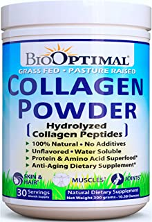 BioOptimal Collagen Powder, Collagen Peptides, Grass Fed, for Skin, Hair, Nails & Joints, Hydrolyzed Collagen Protein, Pasture Raised, Dissolves Easily, 300 Grams