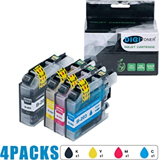 DIGITONER Compatible LC203 Ink Cartridge Replacement for Brother LC203 LC203XL to use with MFC-J480DW MFC-J680DW MFC-J880DWMFC-J485DW MFC-J4620DW MFCJ5720DW [1 Black 1 Cyan 1 Magenta 1 Yellow] 4 Pack