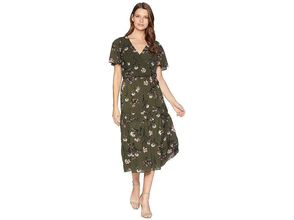 LAUREN Ralph Lauren Walina Marcino Floral Short Sleeve Day Dress (Admiral Green/Blush/Multi) Women