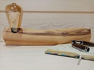Lampara de mesa Artesana, de madera natural
