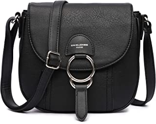 Small Crossbody Handbags for Women, Leather Lightweight Shoulder Purse, Fashion Saddle Bags with Adjustable Strap