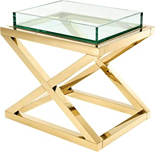 Gold X Leg Side Table with Tray TOP | EICHHOLTZ Curtis | Glamorous Cocktail Square Gold Glass Living Room end Table | Luxury Accent Furniture