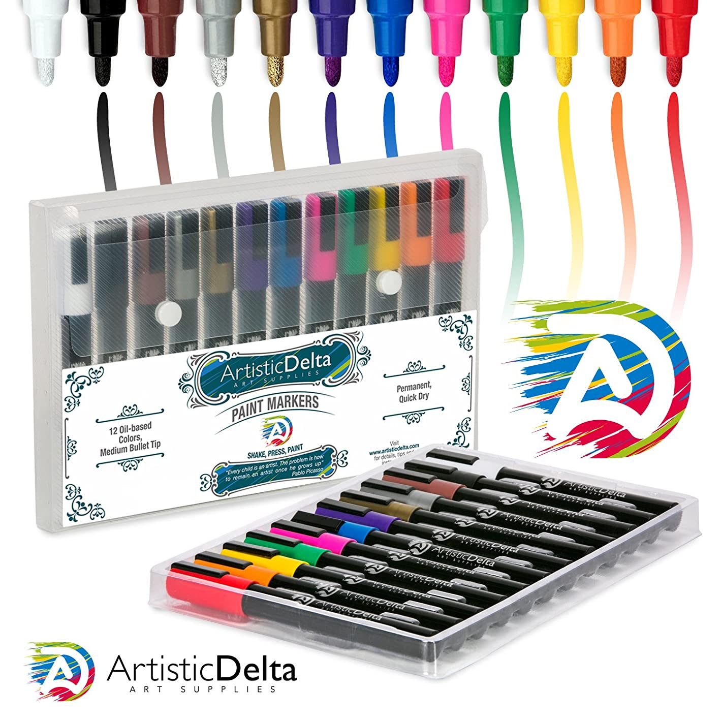 Paint Markers by Artistic Delta - Set of 12 Medium Point Oil-based Art Pens - Assorted Quick-Dry Opaque Colors with Matte Finish - Durable Case - For Use on Glass, Rock, Wood, Ceramic, Plastic, Metal
