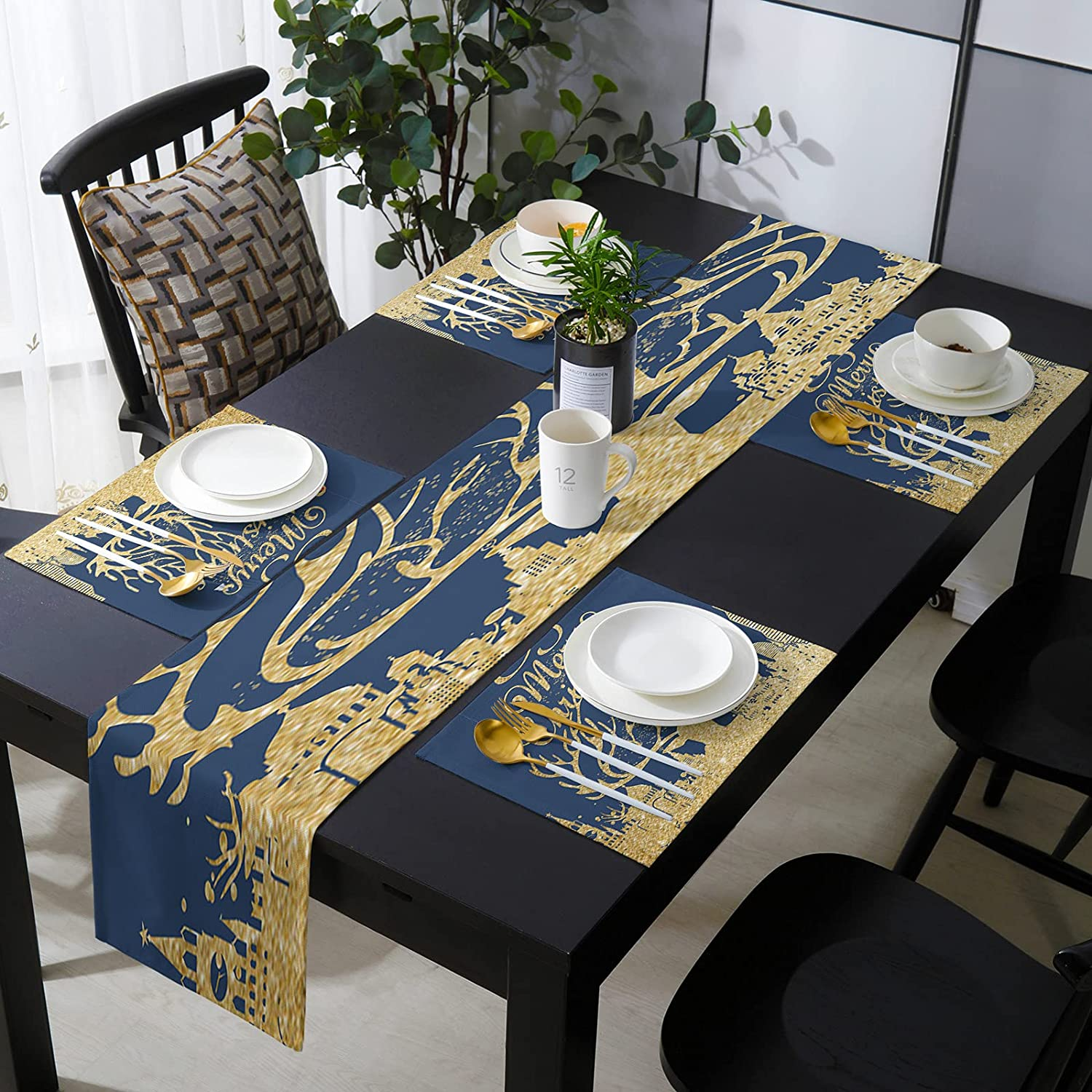 SIGOUYI Elegant Placemats with Matching Runner Golden Spr Table At the Max 47% OFF price