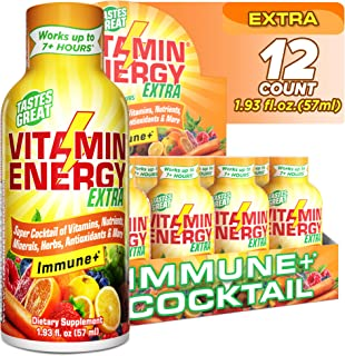 Sponsored Ad - (12 Pack) VitaminEnergy™ Extra Immune+ Energy Shots, Last up to 7+ Hours. Citrus Energy Drink w/Vitamin Sup...