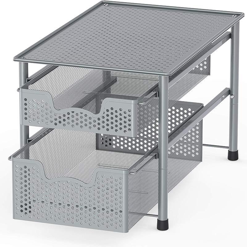 Simple Houseware Stackable 2 Tier Sliding Basket Organizer Drawer Silver