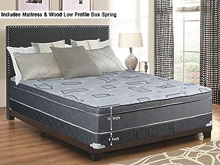 Spring Solution, 10-Inch Meduim Firm Eurotop Pillowtop Foam Encased Hybrid Innerspring Mattress and