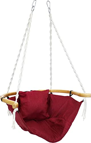 wholesale Sunnydaze Audrey Hammock Chair Swing with Wood Armrest and Cushion - Outdoor Hanging Lounge Seat for Patio, high quality Balcony and Backyard - Olefin Fabric and Bamboo - 260-Pound popular Capacity - Red outlet online sale