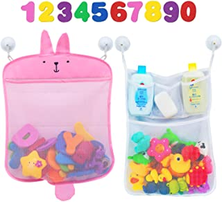 Comfylife Baby Bath Toy Organizer - Bunny (2 Bath Toy Storage Nets, 10 Toy Numbers & 10 Strong Hooks) - Great Bath Net for...