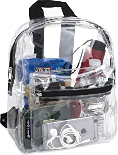 Madison & Dakota Water Resistant Clear Mini Backpacks for School, Beach - Stadium Approved Bag with Adjustable Straps (Black)