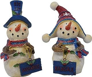 Set of 2 Licensed University of Kansas Jayhawks Snowman Standing Decorations