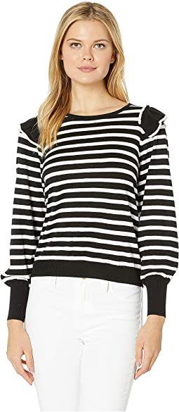 Long Sleeve Striped Sweater w/ Ruffle Shoulders