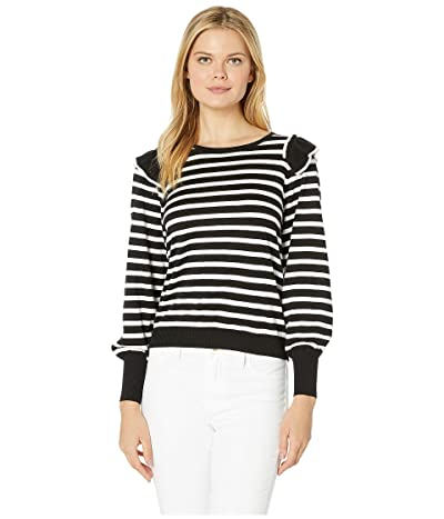 CeCe Long Sleeve Striped Sweater w/ Ruffle Shoulders (Rich Black) Women
