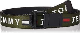 حزام منسوج قابل للعكس مزود ببكرة بعرض 3.5 سم وطبعة تومي جينز للرجال من تومي هيلفجر، ازرق، طول 95 سم