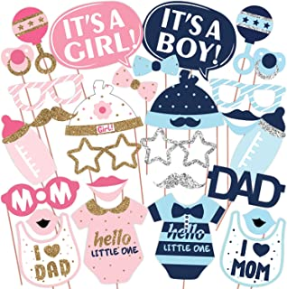 Wobbox Baby Shower Photo Booth Party Props DIY Kit, Mom & Dad, Pink & Blue with Silver & Golden Glitter, Baby Shower Decor...