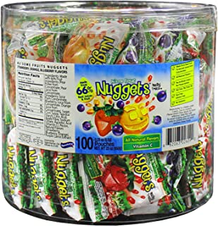 100 Fruit Nuggets Mini Pouches Kosher Vitamin C 66% Real Juice All Natural Flavors Gluten Free - By Au'some