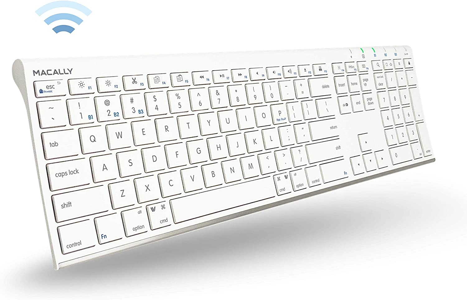 Macally Wireless Bluetooth Keyboard for Mac or PC - Connect up to 3 Devices Simultaneously - Rechargeable Mac Wireless Keyboard Apple with 110 Keys, 20 Shortcuts, and Numeric Keypad - White